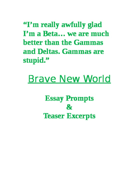 brave new world essay prompts and teaser excerpts by whitney dionizio brave new world essay prompts and teaser excerpts