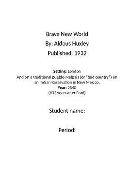 Brave New World reading packet for students