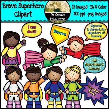 Brave Superhero Clipart Set BW/Color