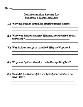 Brave as a Mountain Lion- Printables to go with story and textbook