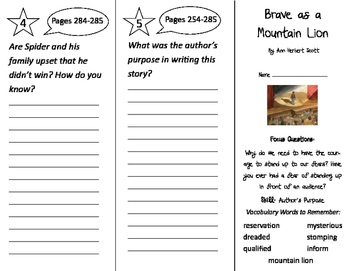Brave as a Mountain Lion Trifold - Imagine It 2nd Grade Unit 5 Week 5