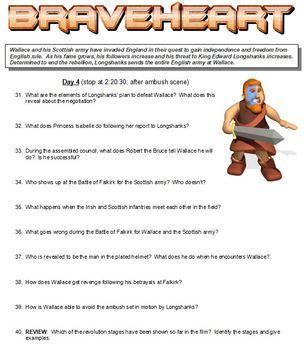 Braveheart Worksheet - Scottish Revolution