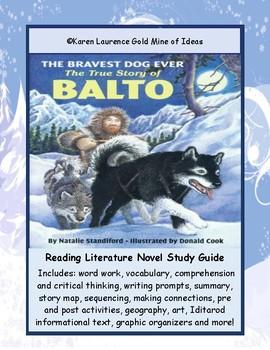 BALTO, Bravest Dog Ever by Natalie Standiford Novel Study Guide - Iditarod Race