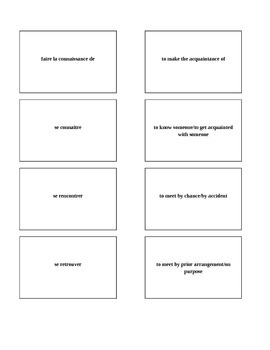 Bravo French textbook chapter 1, lesson 1 Memory game/matching game vocabulary