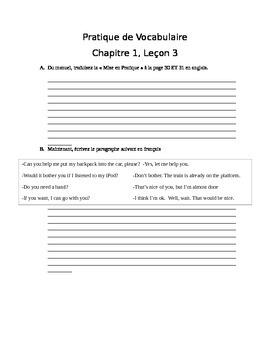 Bravo French textbook chapter 1, lesson 3 vocabulary review handout