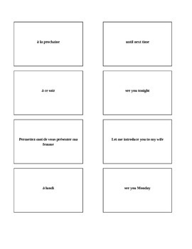 Bravo French textbook vocabulary chapter 1, lesson 1 Memory game/matching game