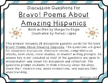 Bravo! Poems About Amazing Hispanics Discussion Question Cards