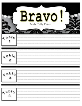 Bravo! Table Tally Points (Damask and Pearl