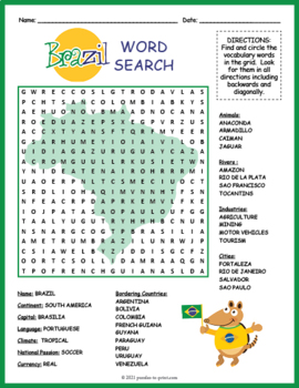 Brazil Activity: BRAZIL GEOGRAPHY WORD SEARCH