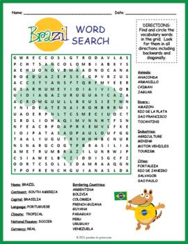 Brazil Activity: BRAZIL GEOGRAPHY WORD SEARCH