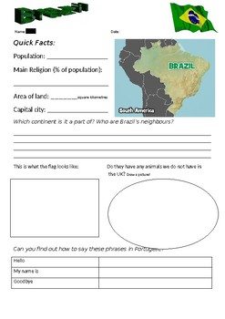 Brazil Factfile Worksheet