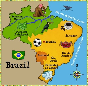 Brazil - Set of three Display Posters / comprehension texts for 10-12 year olds