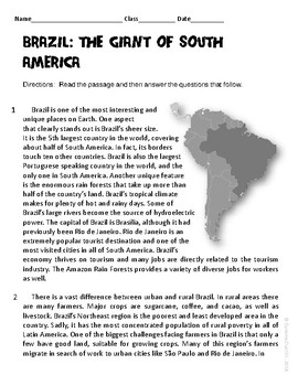 Brazil: The Giant of South America Informational Text Test Prep Passage