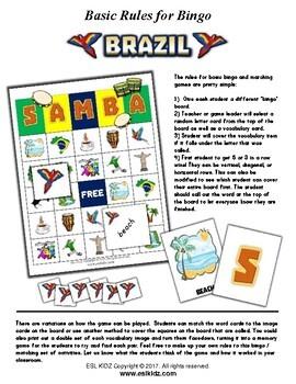 Brazil Themed Bingo / Matching Activities