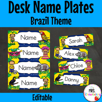 Brazil Themed Desk Name Plates | Labels **Editable**