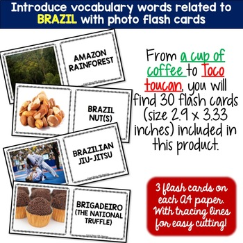 Brazil - Country Symbols: 5 Different Word puzzles and 30 Photo Flash Cards