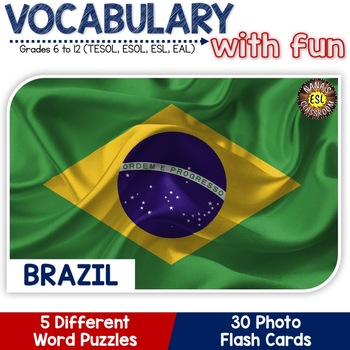 Brazil 5 Word Puzzles and 30 Photo Flash Cards BUNDLE