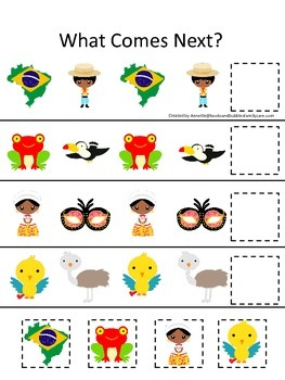 Brazil What Comes Next preschool math game.  Printable daycare curriculum.