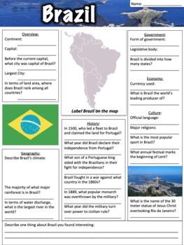 Brazil Worksheet