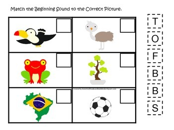 Brazil themed Match the Beginning Sound preschool learning game.  Daycare.
