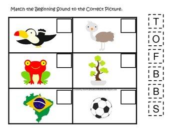 Brazil themed Match the Beginning Sound preschool learning