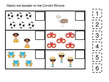 Brazil themed Match the Number preschool learning game.  Daycare curriculum.