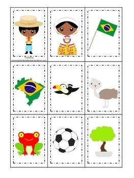Brazil themed Memory Matching preschool learning game.  Daycare.