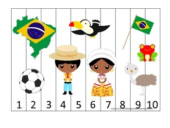 Brazil themed Number Sequence Puzzle preschool learning game.  Daycare.