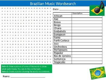 Brazilian Music Wordsearch Puzzle Sheet Keywords Brazil Genres