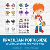 Brazilian Portuguese Colors Flashcards + Word Wall