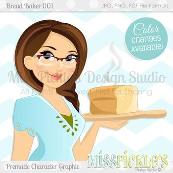 Bread Baker 001- Personal and Commercial Use Character Graphic