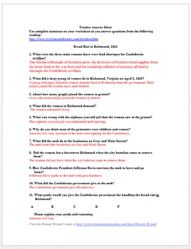 Bread Riot in Richmond: Civil War Primary Source Worksheet