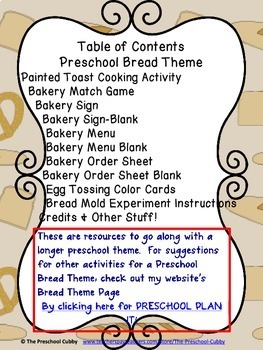 Bread Theme for Preschool