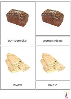 Bread around the World Montessori 3-part cards + description cards