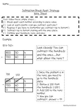 Break Apart Help Pack for Addition and Subtraction (3.NBT.2)