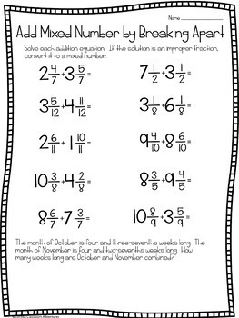 Break Apart Mixed Numbers and Regroup to Add - 90 Minute Math Makeover