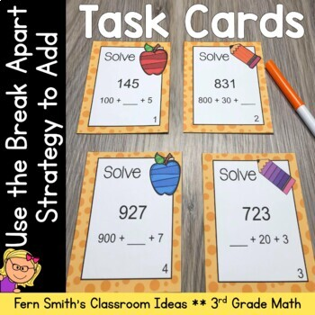 3rd Grade Go Math 1.6 Break Apart Strategy for Place Value Task Cards