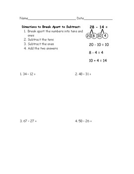 Break Apart to Subtract Without Regrouping