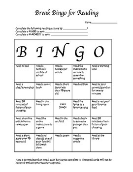 Break Bingo for Reading