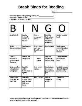 Break Bingo for Reading (editable)