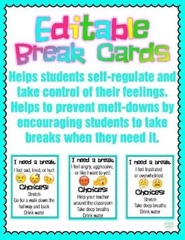 Editable Break Cards - Promotes Self Regulation