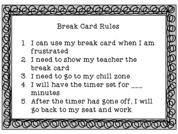 Break Cards Social Skills