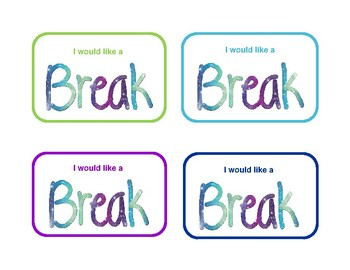 Break Cards - Students with ADHD, Anxiety, Frustration