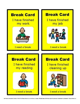 Break Cards for the Special Education Classroom