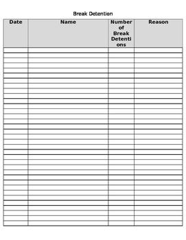 Break Detention List