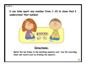 Break It Down: A Ten Frame Game Math Center (K.OA.3)
