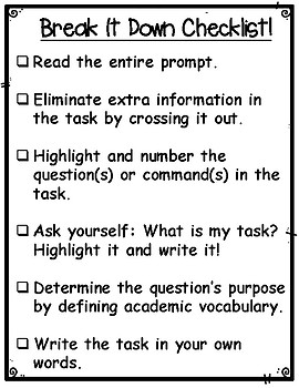 Break It Down! Analyzing a Writing Prompt Checklist and Graphic Organizer