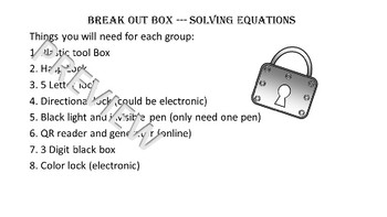 Break Out (Escape Room) Solving Equations--SLEEP themed