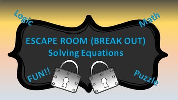 Algebra I Break Out ( Escape Room ) Solving Equations--SLEEP themed