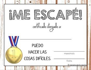 Break Out Escape Room Spanish Award Certificates Free